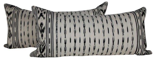 Vintage Ikat Lumbar Pillows, Pair