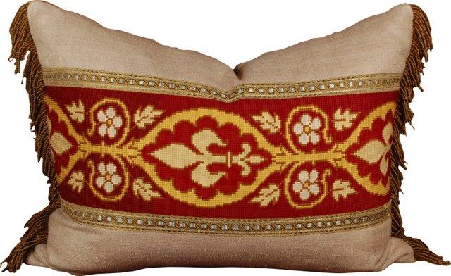 Pillow w/ 19th-C. Needlepoint Panel