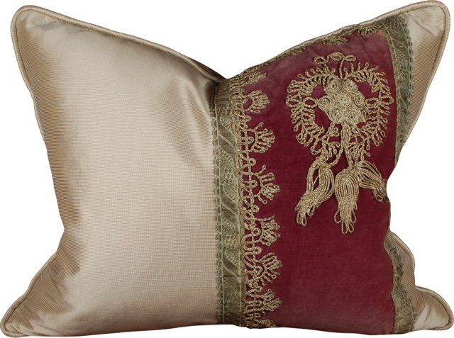 Pillow w/ 19th-C. Turkish Pasha Fabric