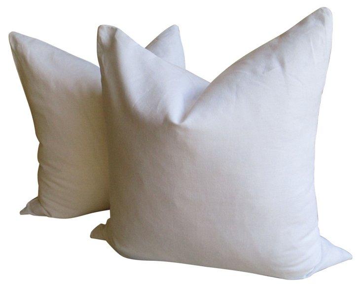 European White Linen Pillows, Pair