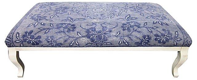 Batik-Upholstered   Ottoman, Large Scale