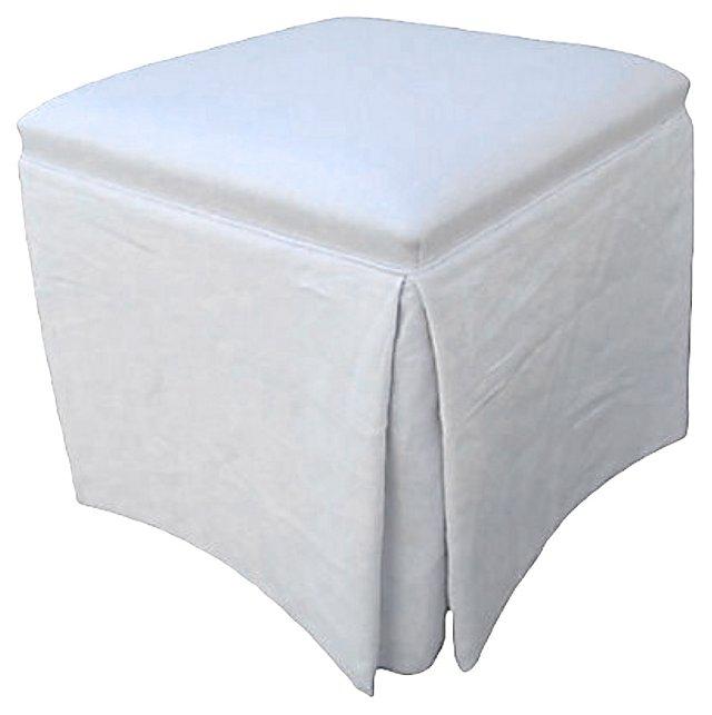 Skirted  White Linen  Ottoman