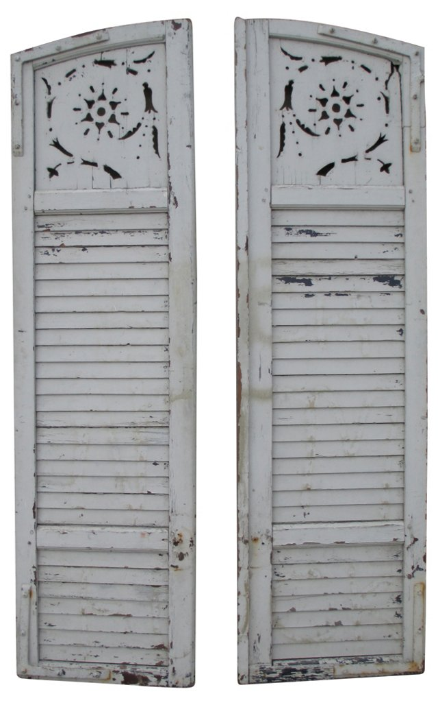 Distressed White Shutters, Pair