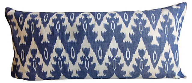 Ikat & White Linen  Body  Pillow