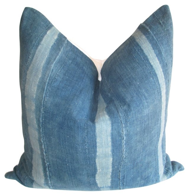African   Indigo  & White Linen Pillow