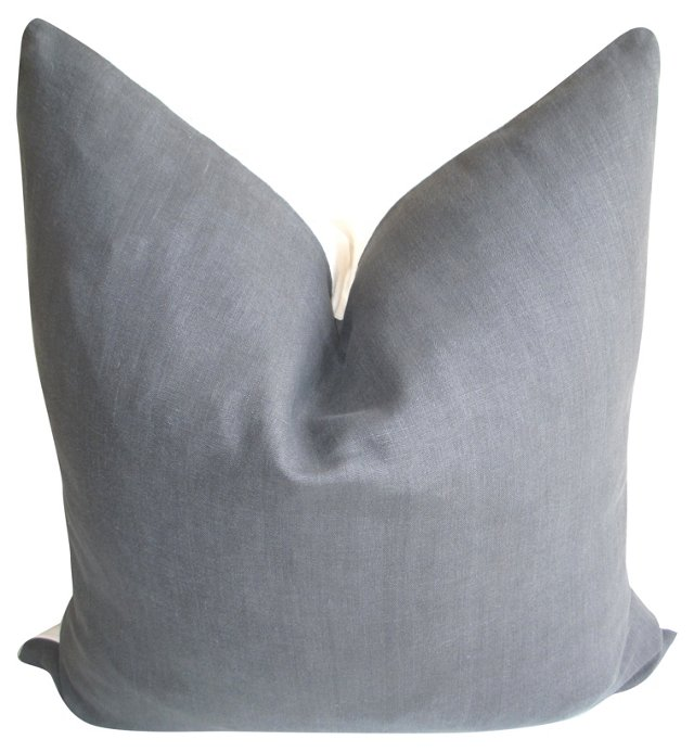 Gray Linen &   White Chambray Pillow