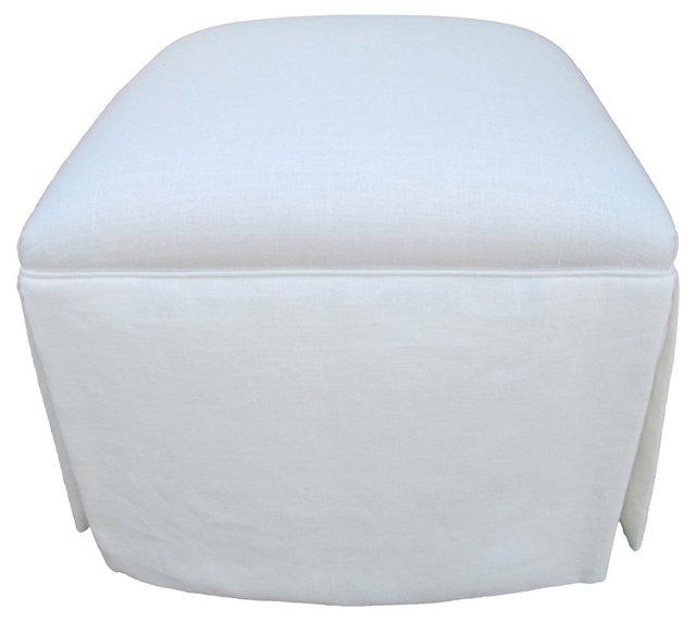 Skirted Ottoman w/ White Linen
