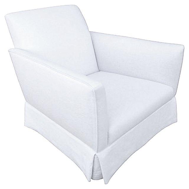 White Linen  Skirted  Club Chair
