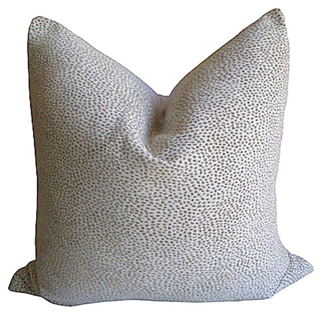 Woven  White  Cheetah & Linen Pillow
