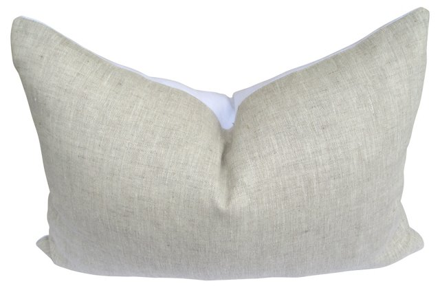 Flax  & White European Linen Pillow