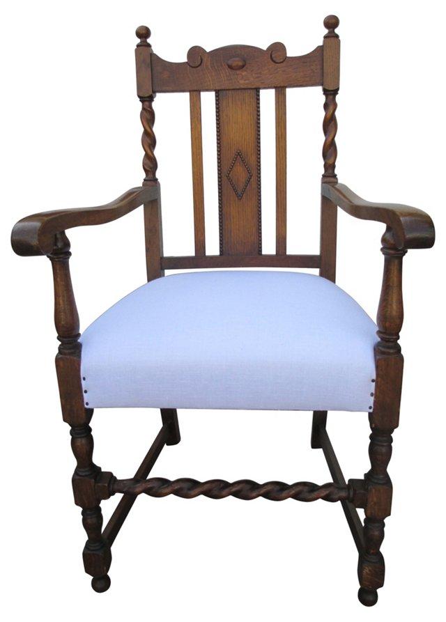 English Barley-Twist Oak Hall Chair