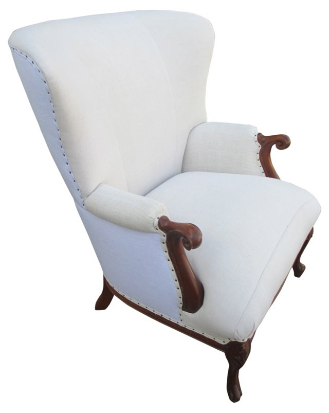 Wingback w/ Antique   French Linen
