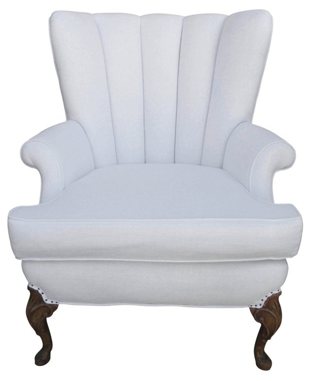 White Linen Channel-Back Chair