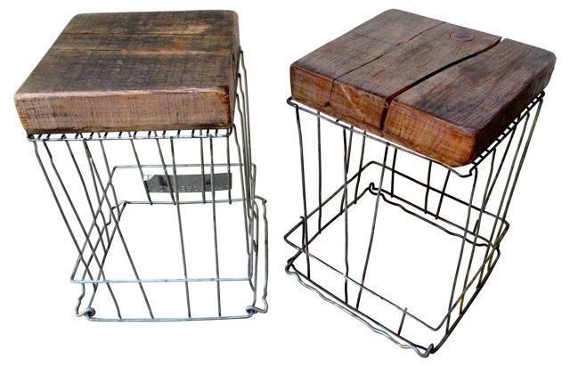 Metal Crate & Wood   Stools, Pair
