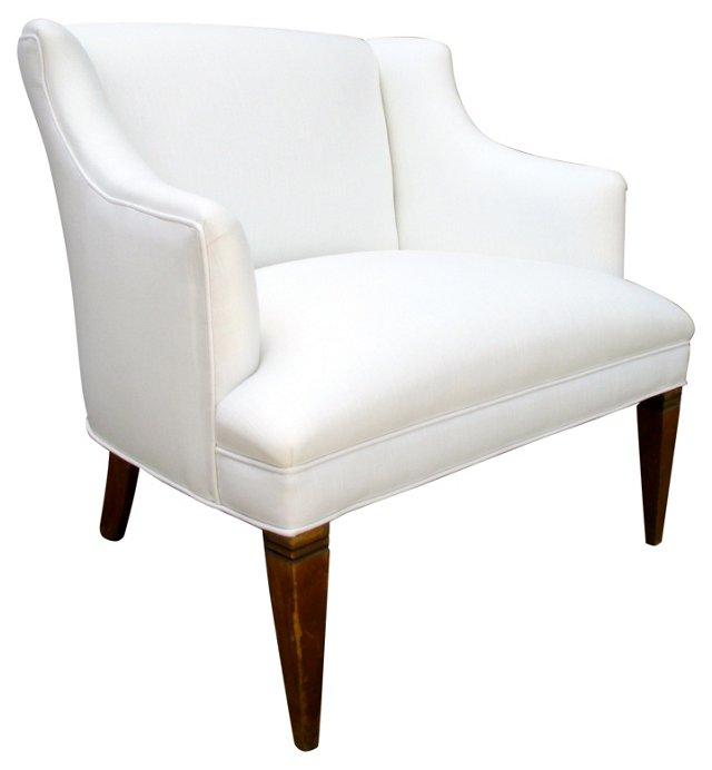 Midcentury White Linen Chair