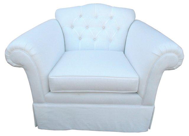 Tufted & Skirted Linen Club Chair