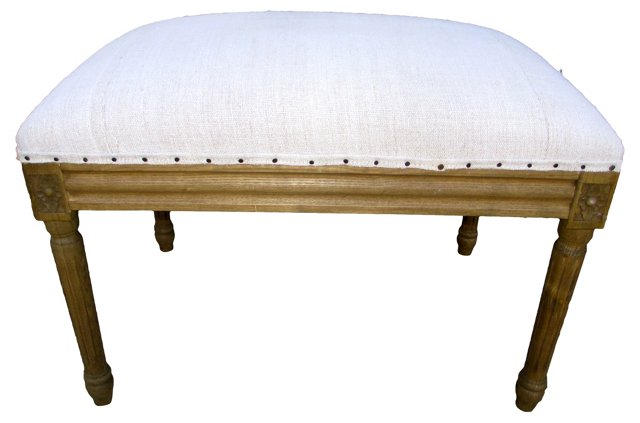 Dressing Bench w/ Antique French Linen