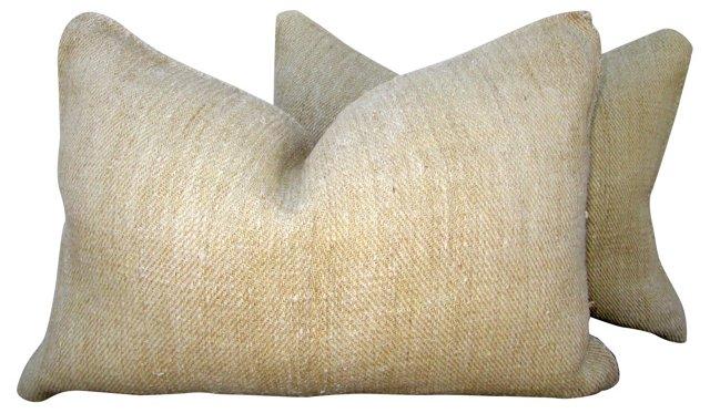 European Natural  Linen Pillows, Pair