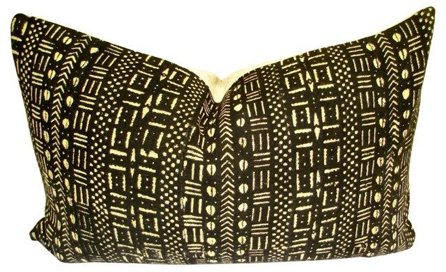 African  Mud   Cloth  & Linen Pillow