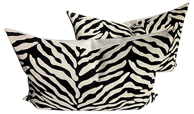 Woven Zebra & White  Linen Pillows, Pair