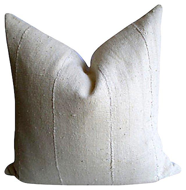 African Cotton & White  Linen  Pillow