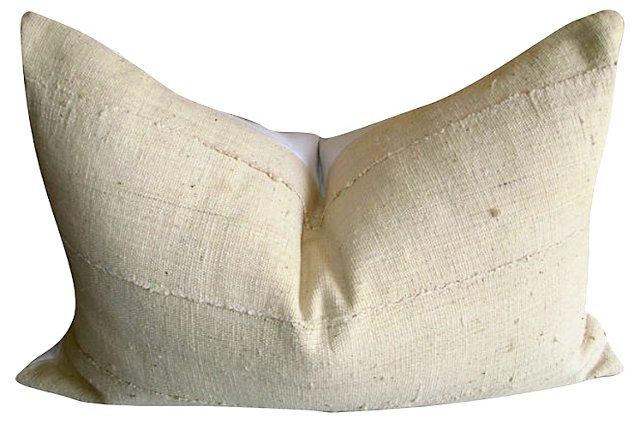 African  Mud Cloth & White  Linen Pillow