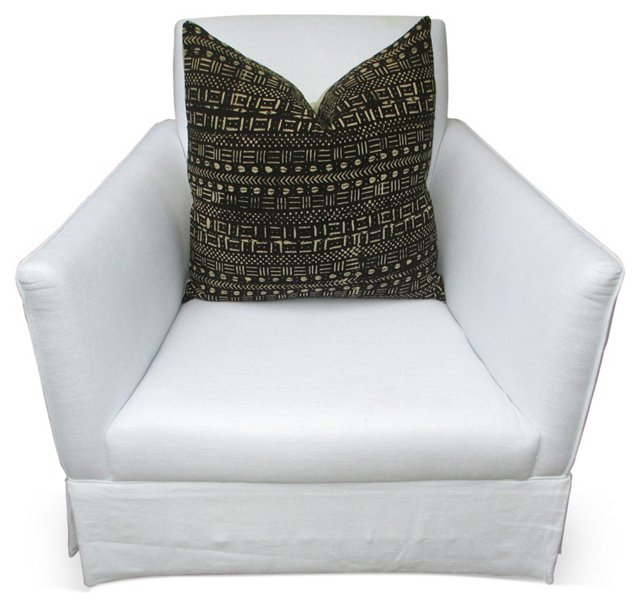 Linen Club Chair w/ African Woven Pillow