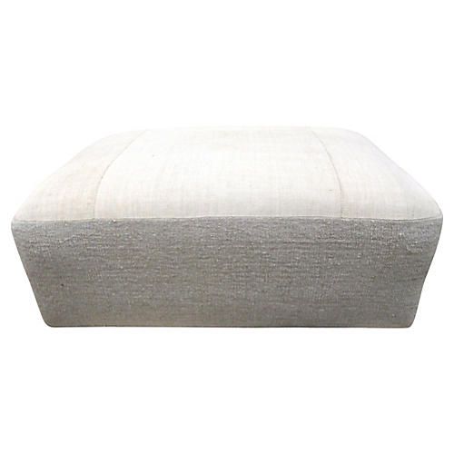 French Natural Linen Ottoman