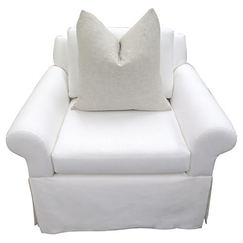 Custom White European Linen Club Chair