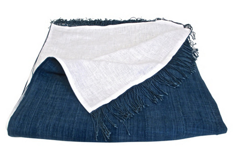 African Blue & Linen Bed Scarf & Throw