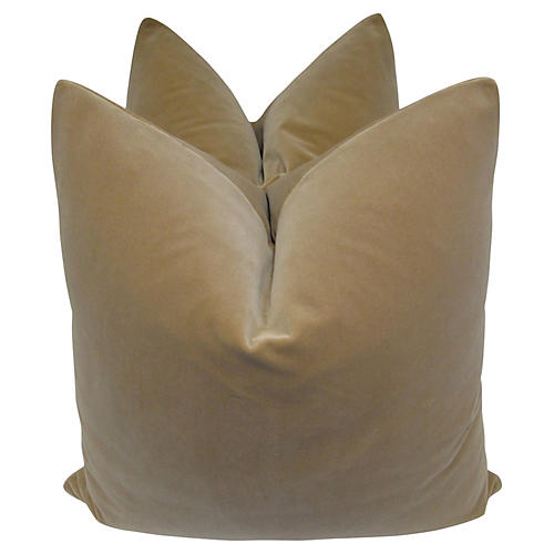 Chamois Velvet Pillows, 24x24, Pair