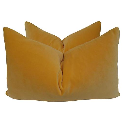 Belgian Marigold Velvet Pillows, Pair