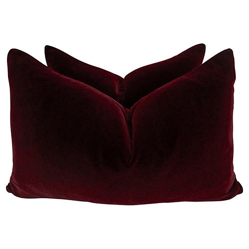 Belgian Ruby Velvet Lumbar Pillows, Pair