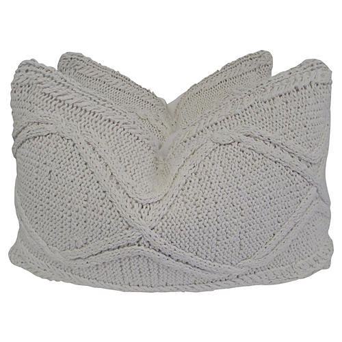Cable Knit & French Linen Pillows, Pair