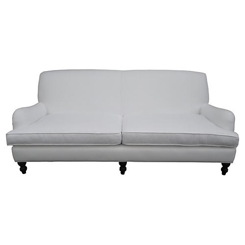 Custom White Linen Sofa