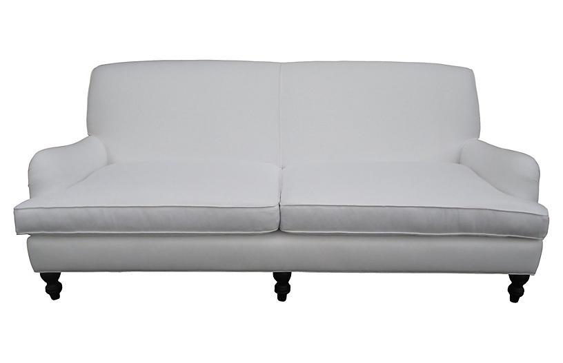 Custom White Linen Sofa