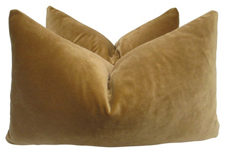 Camel Velvet Pillows, Pair