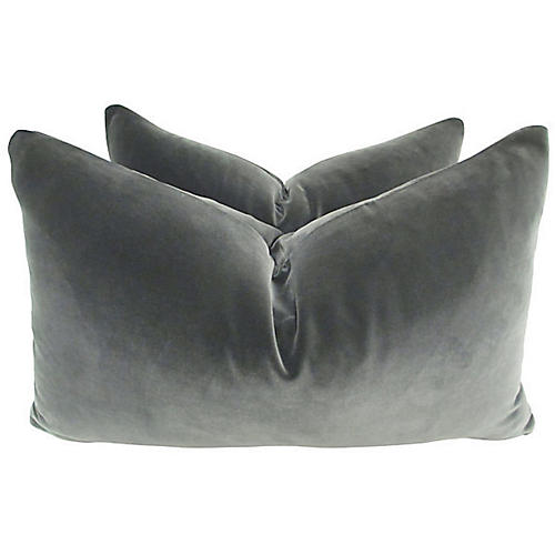 Belgian Gray Velvet Lumbar Pillows, S/2
