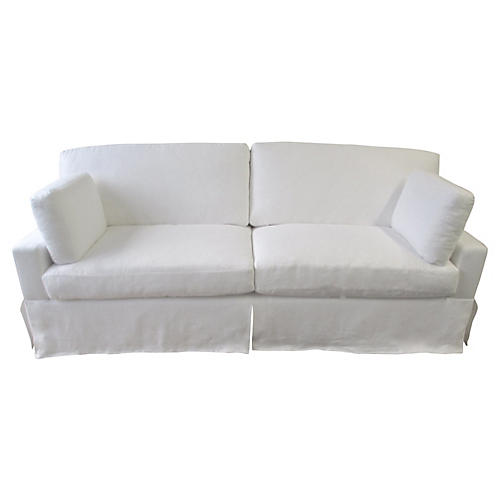 Custom Skirted Linen Sofa