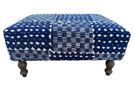 Custom   Mali Indigo Blues Ottoman