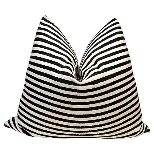 Black Stripe Oversize Hand-Spun Pillow