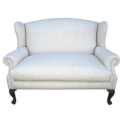 Wingback Settee w/ Natural Flax Linen