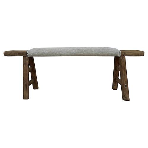 Antique Shandong Bench w/ European Linen