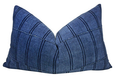 Bamana Blues & Linen Pillow