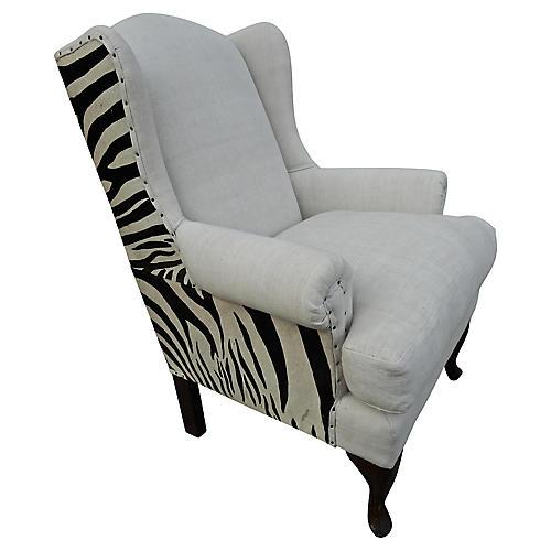 Zebra Pattern & European Linen Wingback