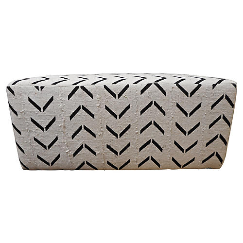 Custom Natural Mud-Cloth Ottoman