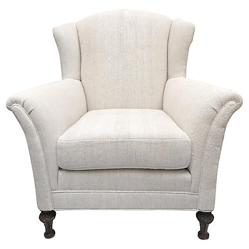 Antique French Linen Wingback Chair