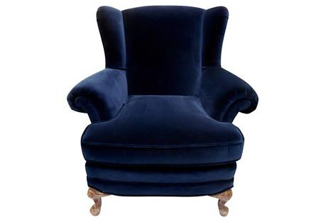 Belgian Ink Velvet Antique Wing Chair