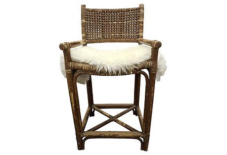 Maguire Rattan & Rawhide Bar Chair