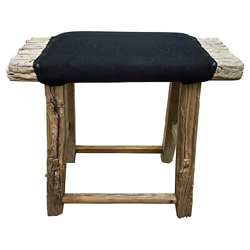 Antique Shandong Stool w/ Belgian Linen